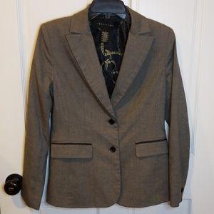 Apostrophe Sz 2 Blazer with lace pocket trim gray